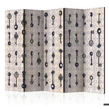 Parawan 5-częściowy - Styl retro: Srebrne łyżki