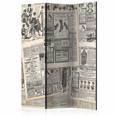 Parawan 3-częściowy - Vintage Newspapers