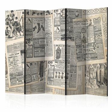 Parawan 5-częściowy - Vintage Newspapers