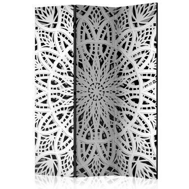 Parawan 3-częściowy - Biała Mandala