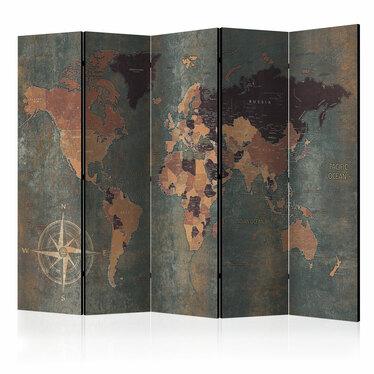 Parawan 5-częściowy - Parawan: Mapa w brązach i szarościach
