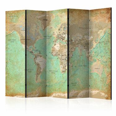 Parawan 5-częściowy - Turkusowa mapa świata