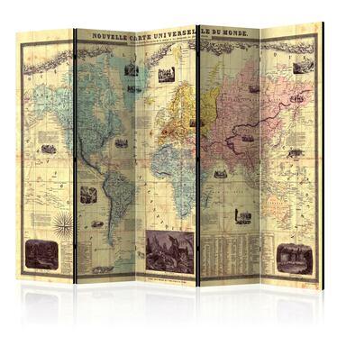 Parawan 5-częściowy - Nouvelle Carte Du Monde