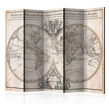 Parawan 5-częściowy - Mappe-Monde Geo-Hydrographique