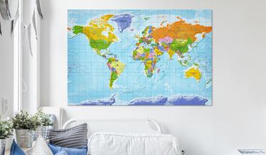 Tablica korkowa Mapa świata: Flagi państw