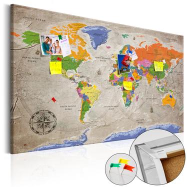 Tablica korkowa Mapa świata: Styl retro