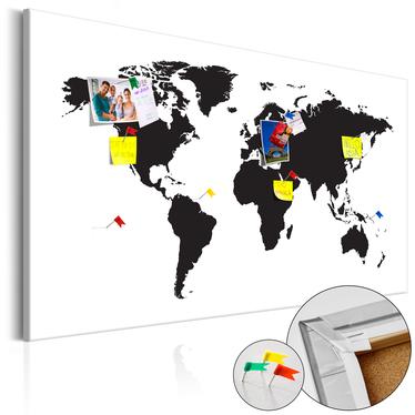 Tablica korkowa Mapa świata: Czarno-biała elegancja