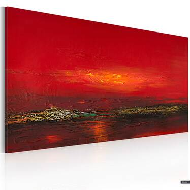 Obraz malowany - Czerwony zachód słońca nad morzem