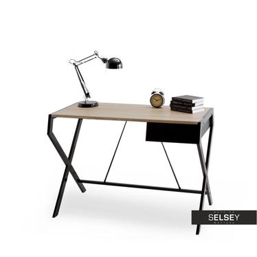 Biurko Designo czarne - dąb sonoma z szufladą w minimalistycznym stylu