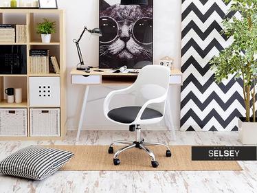 Fotel biurowy Rino z czarną poduszką do małego gabinetu