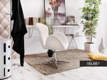 Fotel biurowy Swan biały welurowy