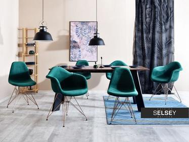 Krzesło MPA rod tap zielony-miedź modne z oparciem do kuchni