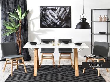 Stół Atina biały dąb 160x90 cm w stylu skandynawskim