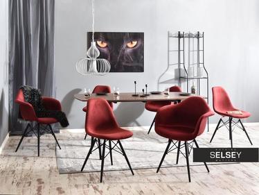 Krzesło MPA wood tap bordowo-czarne stylowe welurowe