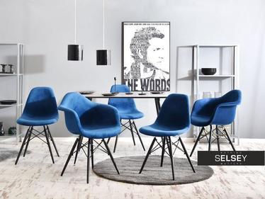 Krzesło MPA wood tap granatowo-czarne tapicerowane do jadalni