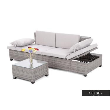 Sofa ogrodowa Maple Szara ze stolikiem