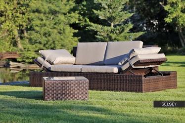 Sofa ogrodowa Milano 2w1 brązowa ze stolikiem