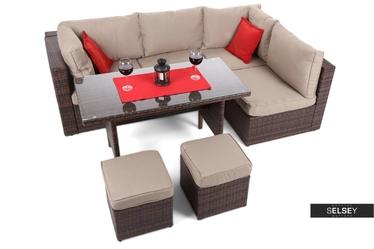 Narożnik ogrodowy Milano Dinner modułowy ze stołem brązowy