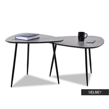 Zestaw stolików kawowych Rosin beton-czarny 68x65 cm i 59x56 cm