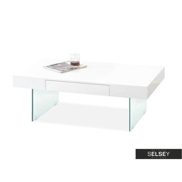 Ława Angri z szufladą 110x60 cm biała na szklanych nogach