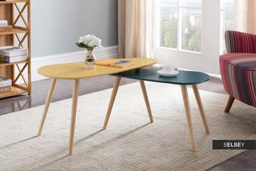 Zestaw stolików kawowych Glada musztardowo-niebieski 81,5x41 cm i 67x34 cm
