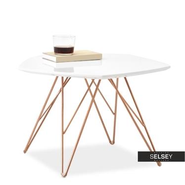 Stolik kawowy Penta 57x56 cm biały-miedź z pięciokątnym blatem