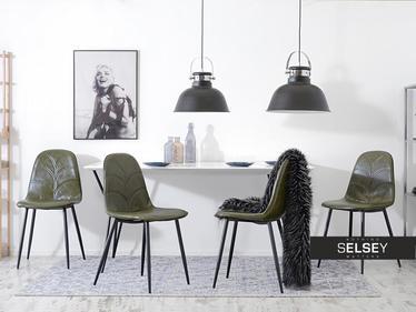 Krzesło Skal zielona ekoskóra pikowane