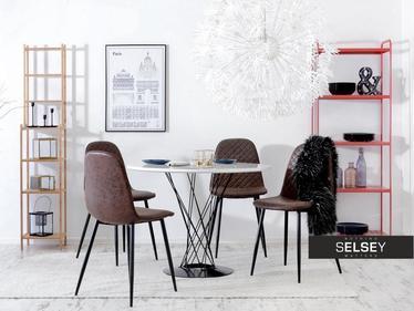 Krzesło Skal brązowa ekoskóra pikowane