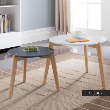 Zestaw stolików kawowych Glada czarno-białe średnica 60 cm i 45 cm do salonu