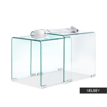 Zestaw stolików kawowych Duo ze szkła 42x42 cm i 36x36 cm