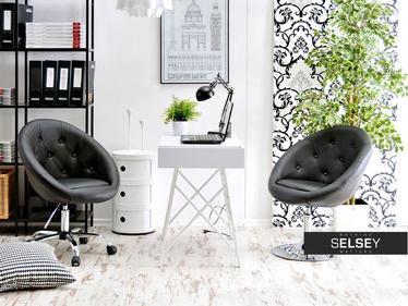 Fotel biurowy Lounge 4 czarny na mobilnej podstawie