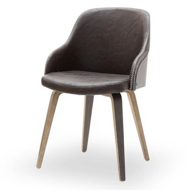 Krzesło Almond dąb palony - brązowa ekoskóra z drewna giętego