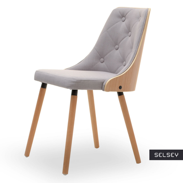 Krzesło Dermast buk - szare z pikowaniem