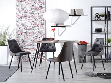 Krzesło Magnum dąb palony - czarna ekoskóra z pikowaniem