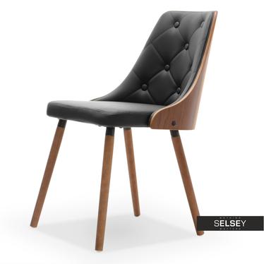 Krzesło Magnum orzech - czarna ekoskóra z pikowaniem