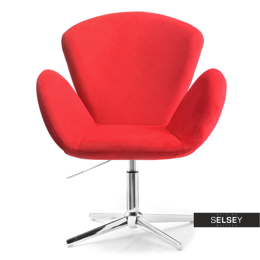Fotel biurowy Swan czerwony velvet