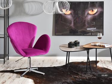 Fotel biurowy Swan fioletowy welurowy
