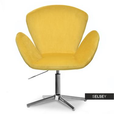 Fotel biurowy Swan żółty z weluru obrotowy