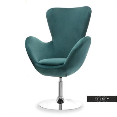 Fotel obrotowy Jacob zielony - chrom uszak velvet