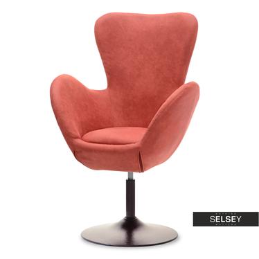 Fotel obrotowy Jacob koralowy - brąz uszak w stylu vintage