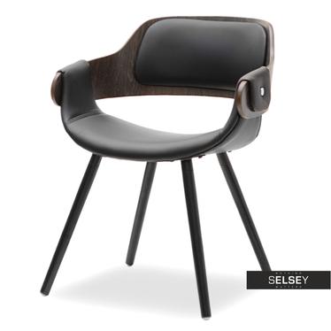 Krzesło Twig dąb palony - czarna ekoskóra z drewna giętego