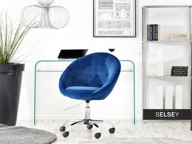 Fotel biurowy Lounge 4 granatowy tapicerowany