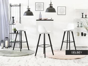 Hoker Werk biało - czarny na drewnianej podstawie