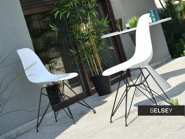 Krzesło MPC rod biało-czarne na ażurowej podstawie