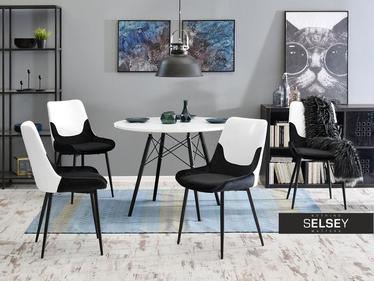 Krzesło Sajt biało-czarne na smukłych nogach