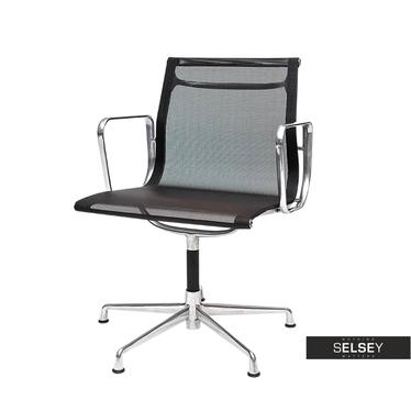 Fotel biurowy inspirowany EAMES 108 czarny, siatka mesh + chrom