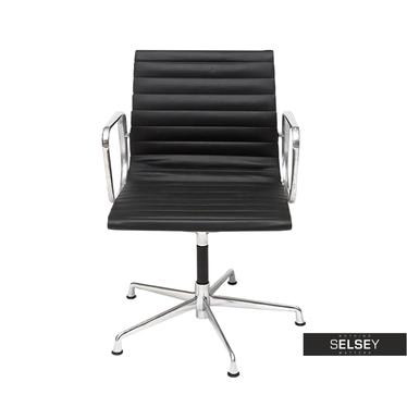 Fotel biurowy inspirowany EAMES 108 czarny, skóra + chrom