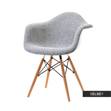 Krzesło MPA wood tap szare tapicerowane do jadalni