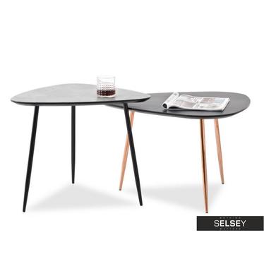 Zestaw stolików kawowych Rosin mix czarny-beton 68x65 cm i 59x56 cm