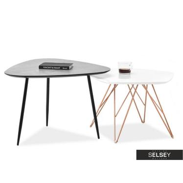 Zestaw stolików kawowych Rosin beton 68x65 cm i Penta biały 57x56 cm